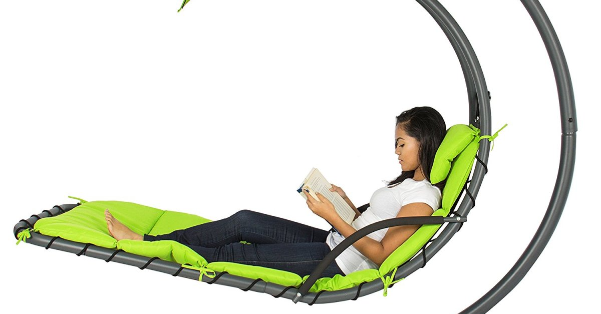 Hanging chaise lounger chair arc stand air porch swing for $125