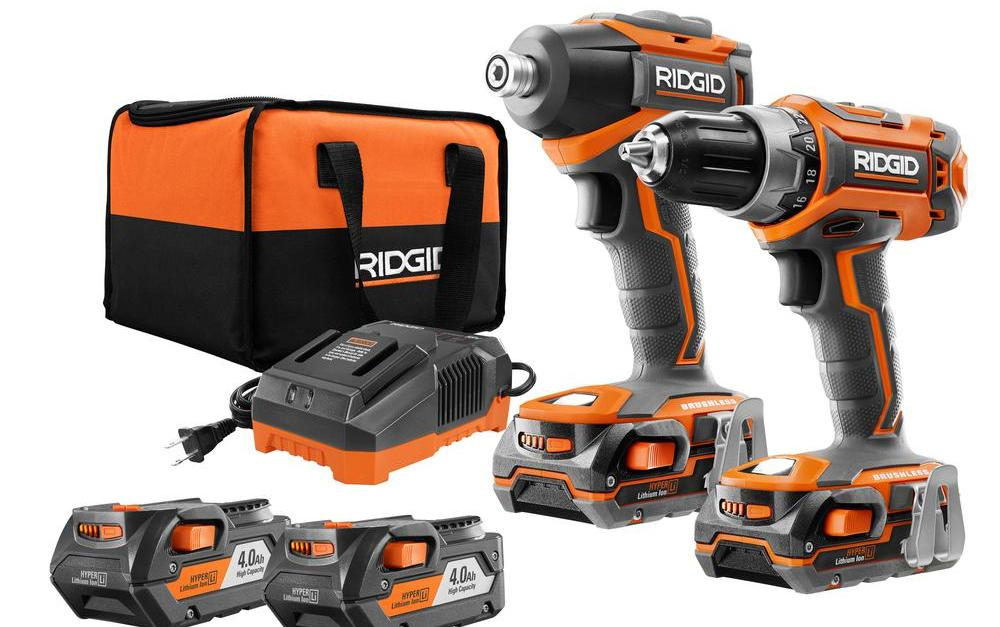 Ridgid 18-volt brushless 2-tool drill/ driver combo kit with 2 batteries for $179