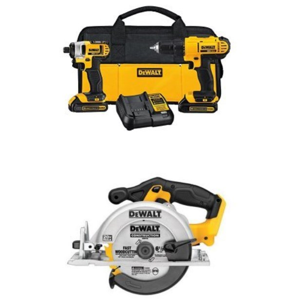 Today only: Dewalt 20v lithium drill driver/impact combo kit with circular saw for $199