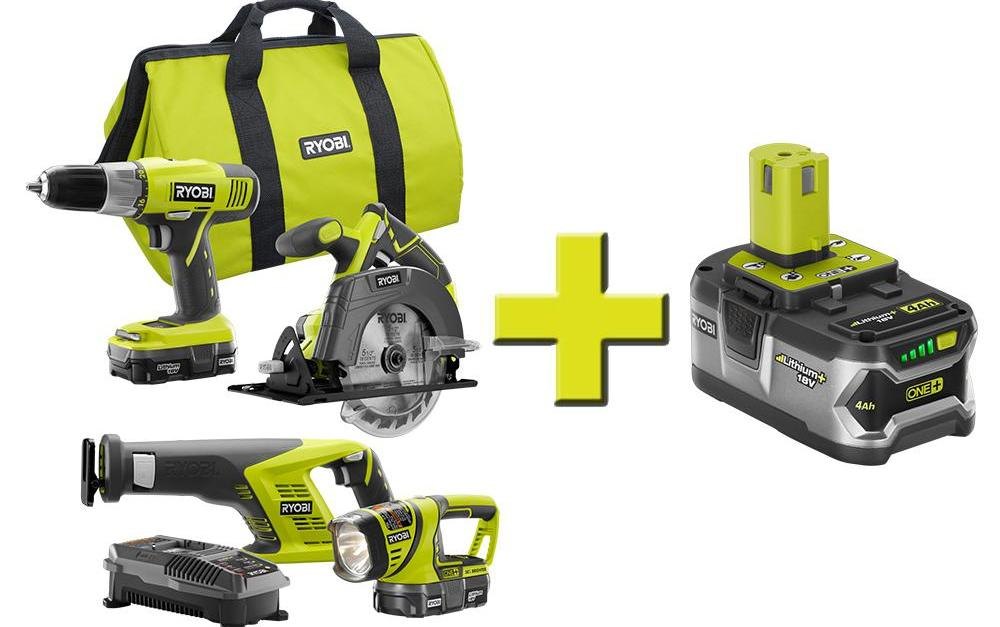 Ryobi 18-volt one+ lithium-ion cordless super combo kit plus battery pack for $179