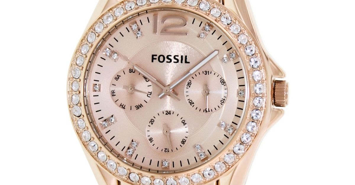 Fossil women's Riley rose gold stainless steel fashion watch for $74, free shipping