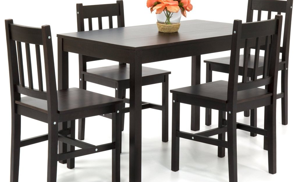 Home 5-piece pinewood dining table set with chairs for $133