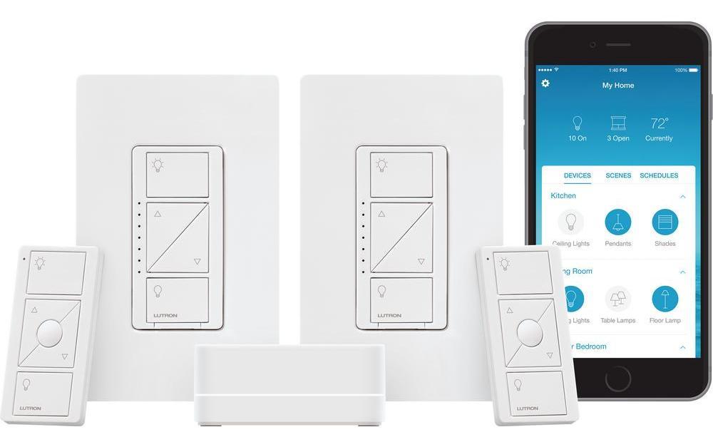 Today only: 2-count Lutron Caseta wireless smart lighting dimmer switch starter kit for $120