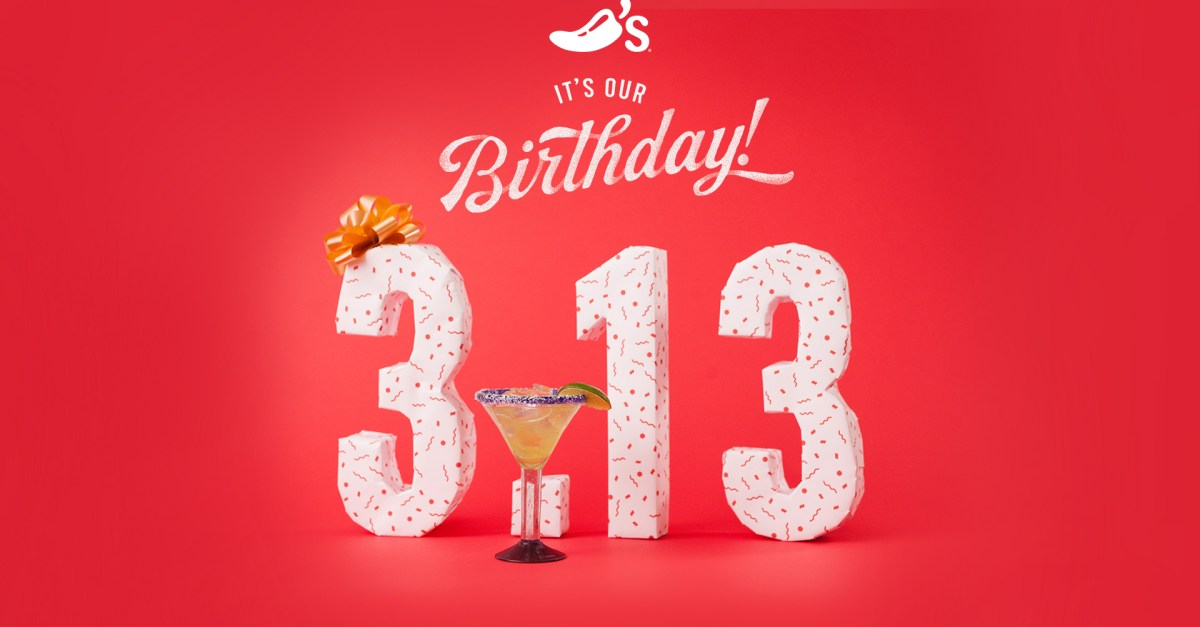 Today only: Celebrate at Chili's with $3.13 margaritas!