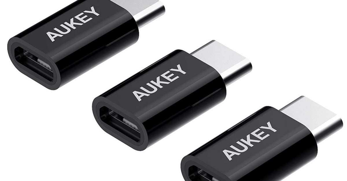 Aukey USB C to micro USB adapter 3-pack for $4 with code