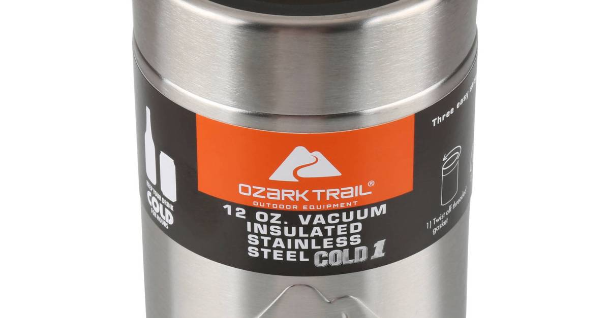 Ozark Trail 12-ounce vacuum insulated can cooler for $4