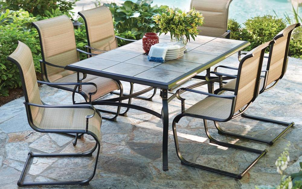 Ends soon! Hampton Bay Belleville 7-piece padded sling outdoor dining set for $299
