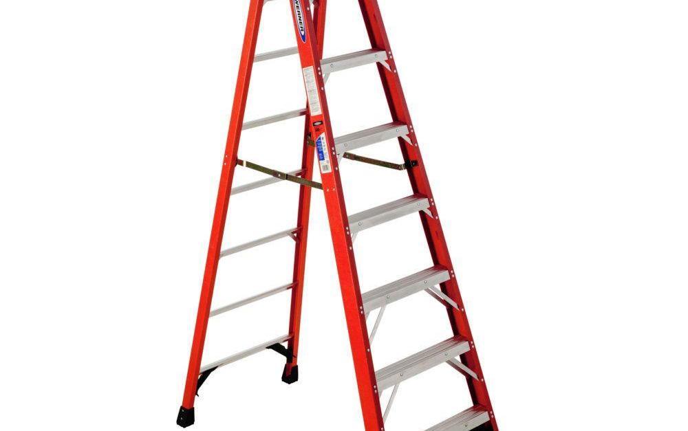 Werner 8-ft fiberglass step ladder with 300 lb. load capacity for $100