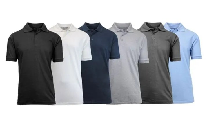 6-pack Galaxy by Harvic men's pique polos for $40 with shipping