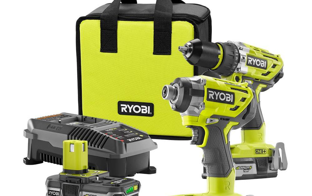 Ryobi 18-volt ONE+ lithium-ion cordless drill/driver and impact driver with batteries, charger and bag for $99