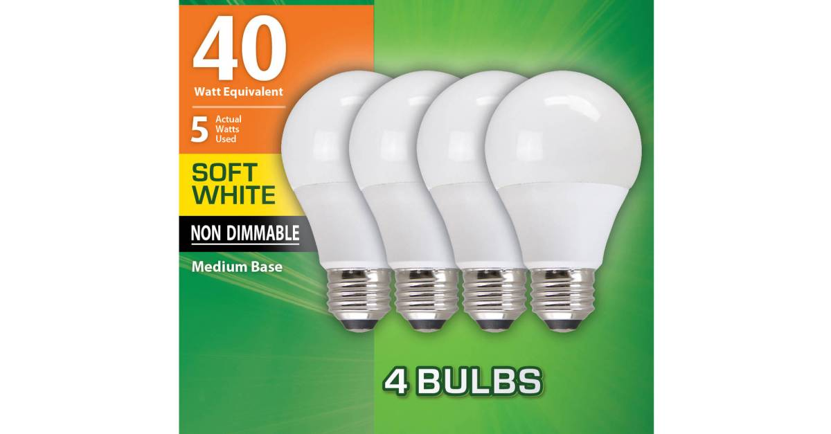 4-pack Great Value LED light bulbs for $5
