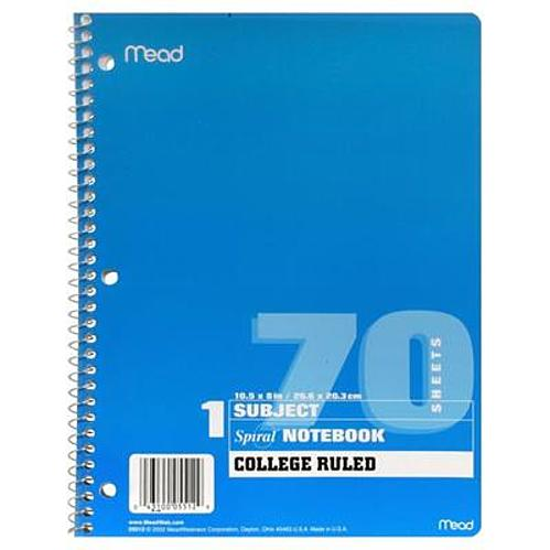 In-store: Spiral bound 1-subject notebooks for $0.17