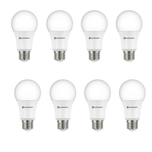8-pack EcoSmart 60-watt equivalent A19 LED light bulbs for $10
