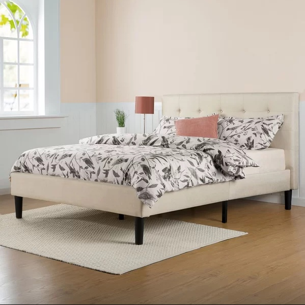 Leonard upholstered platform bed for $146