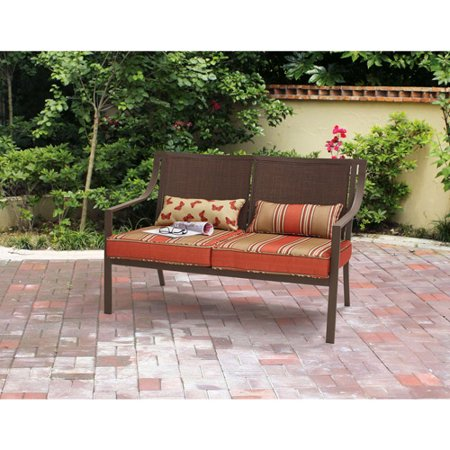 Mainstays Alexandra square patio loveseat bench for $74