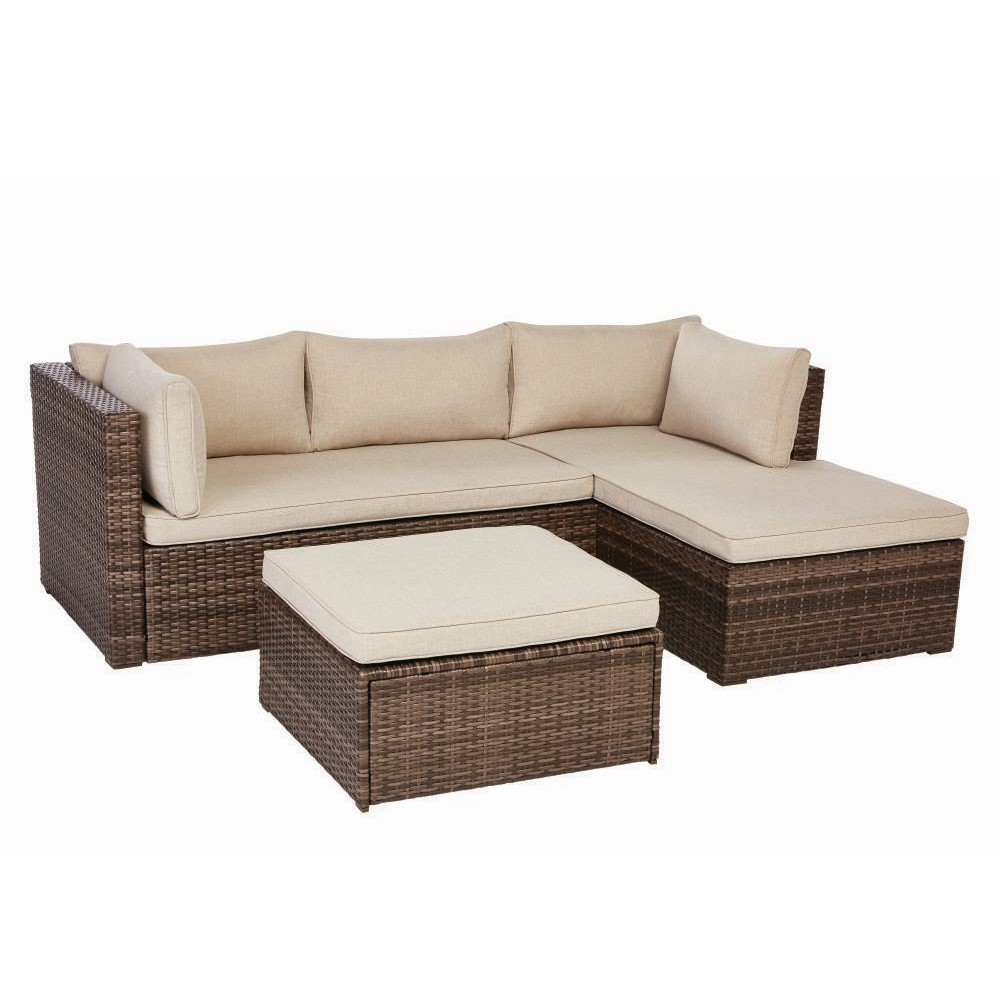 Valley Peak 3 Piece All Weather Wicker Sectional Patio Set With Beige  Cushions For $200