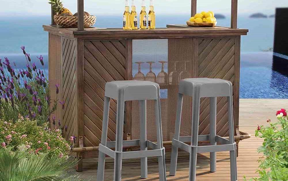 2-pack taupe patio bar stools for $59, free shipping