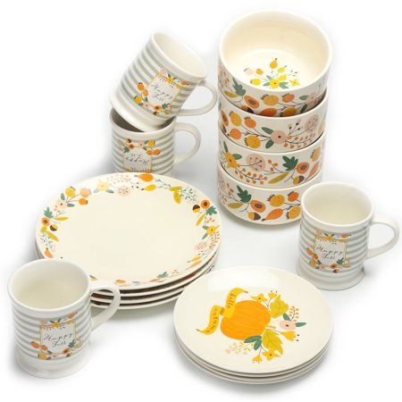 16-piece Mainstays Fall Floral dinnerware set for $18