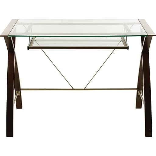 Lynx glass-top compact computer desk for $30