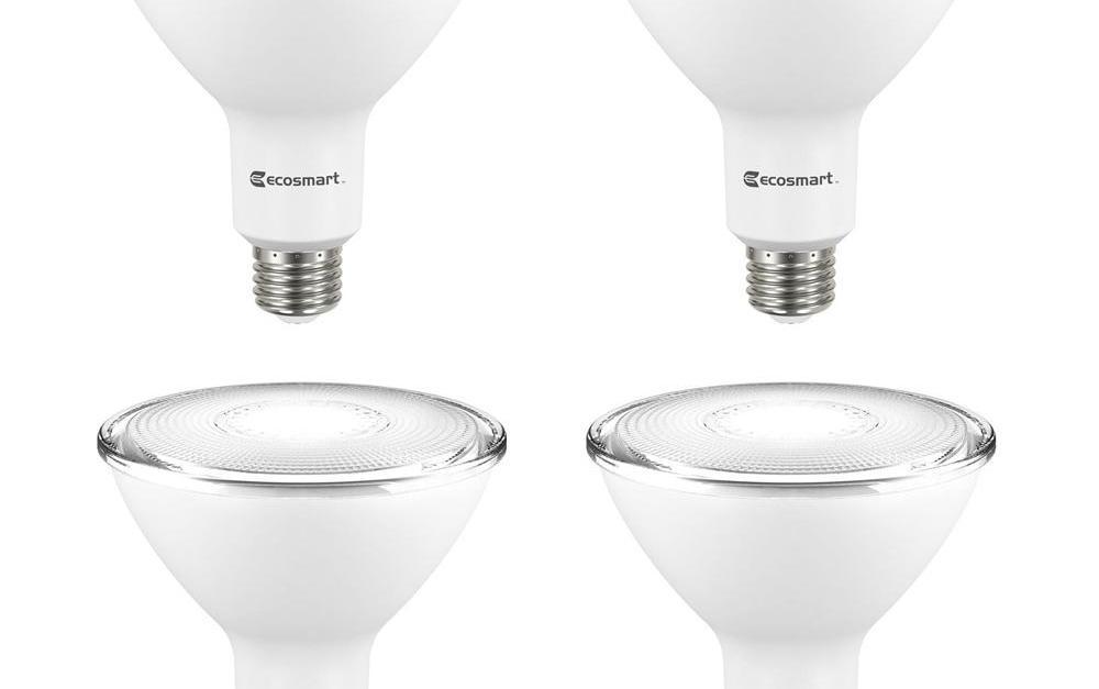 4-pack EcoSmart 90-watt equivalent LED flood light bulbs for $8