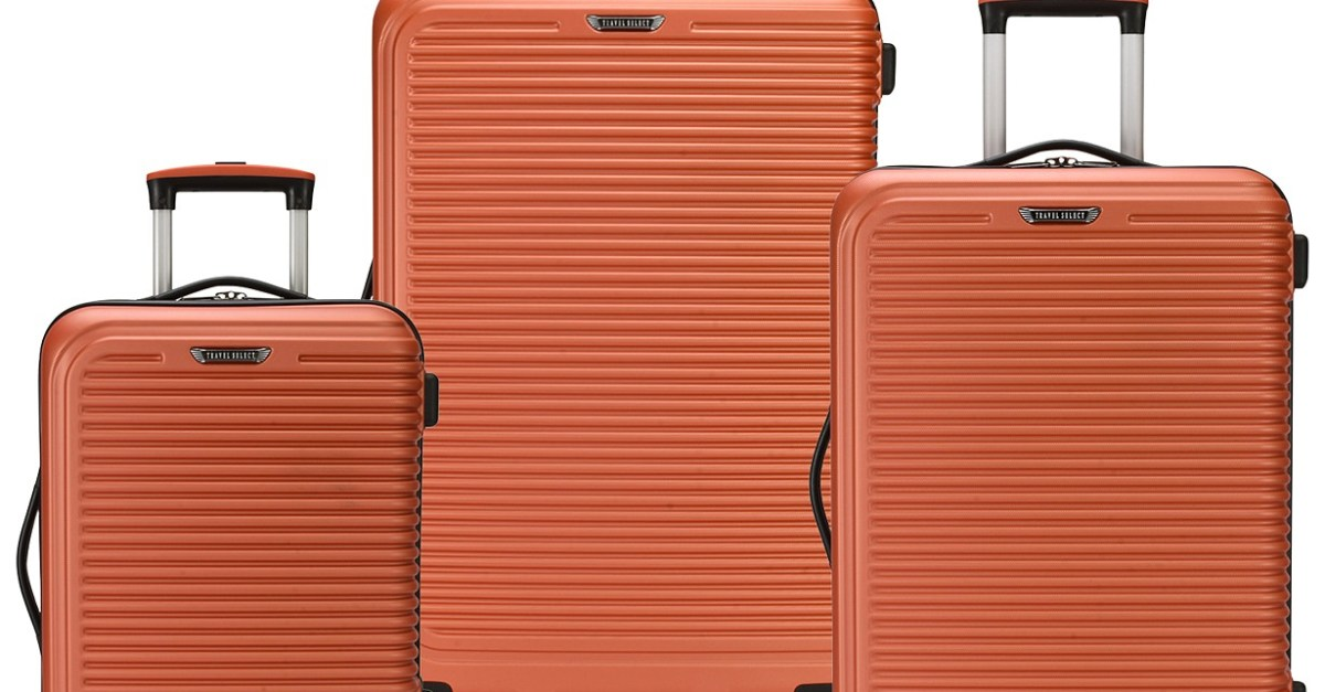 Travel Select 3-piece hardside spinner suitcase set for $100, free shipping