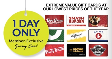 Sam's Club: Save 30% on gift cards during the One-Day sale