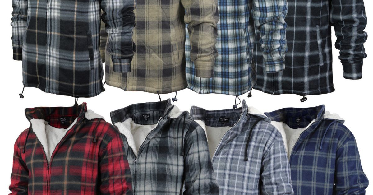 Men's heavy fleece-lined sherpa plaid flannel jacket with hood for $27, free shipping