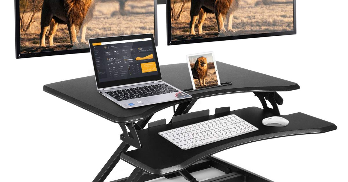 Simbr height adjustable sit to stand desk riser for $110