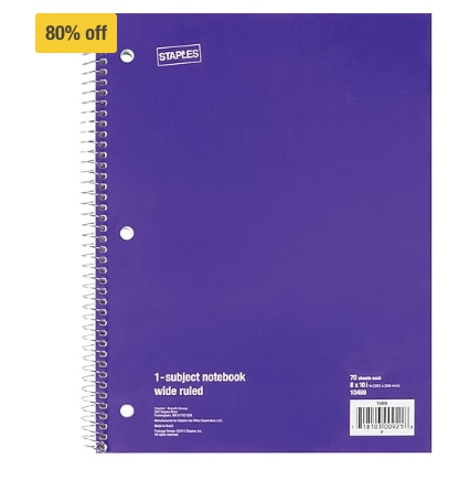 Staples 1-subject spiral notebooks from $0.49