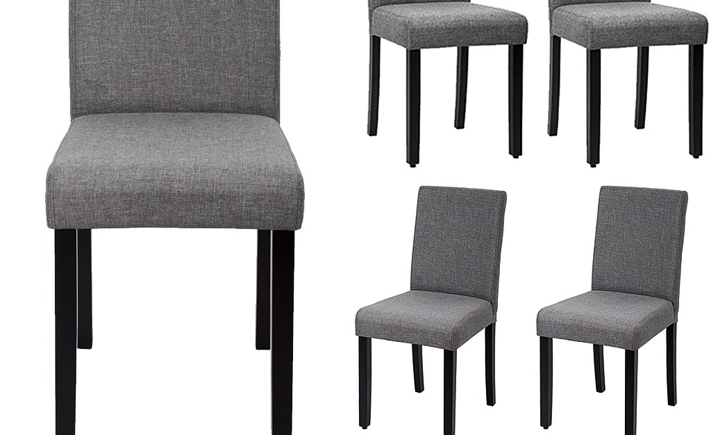 Set of 4 upholstered dining chairs in grey for $110