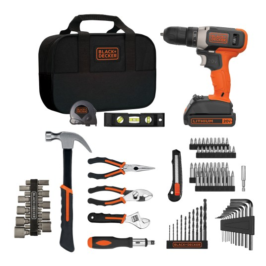 Black & Decker 84-piece 20V max drill & home tool kit for $59