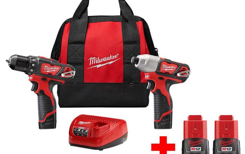 Milwaukee M12 12-volt lithium-ion cordless drill driver kit with 2 batteries for $129