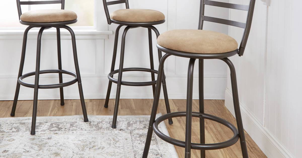 Set of 3 Mainstays adjustable-height swivel barstools for $23 each