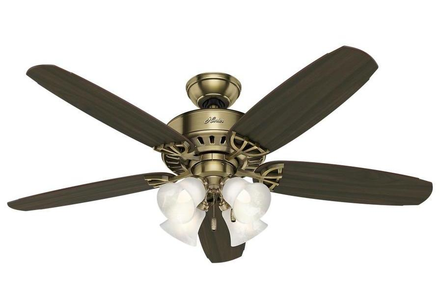 Hunter large room 52-in antique brass indoor ceiling fan with light kit for $50