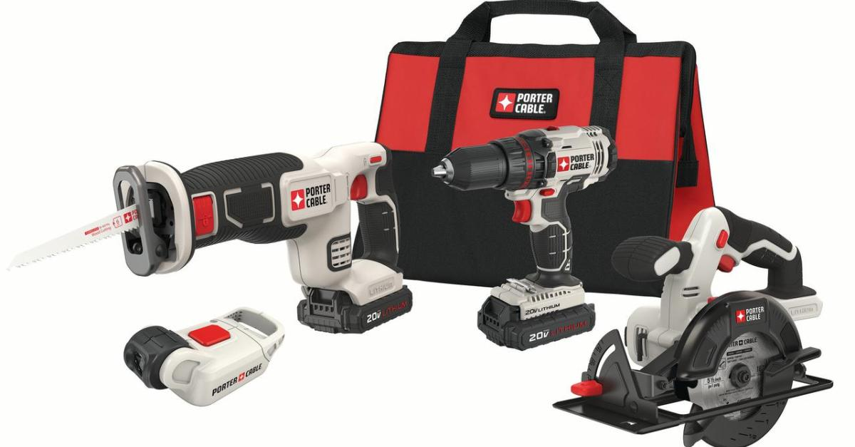 Porter Cable 20V Max lithium ion 4 tool combo kit for $149