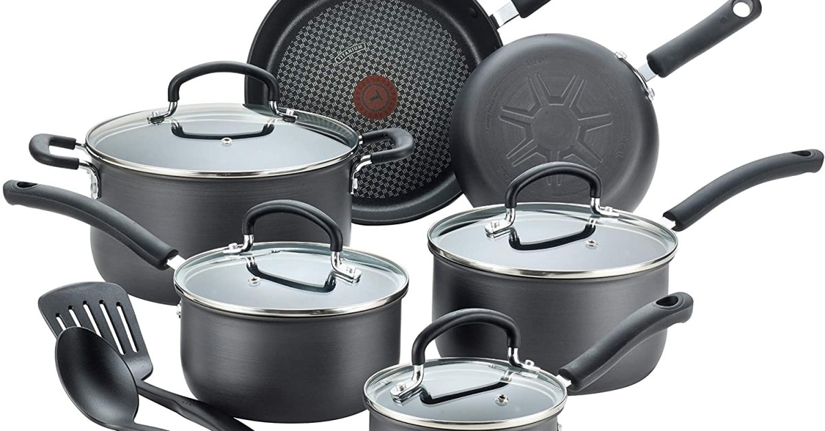 Today only: T-fal hard anodized 12-piece cookware set for $70