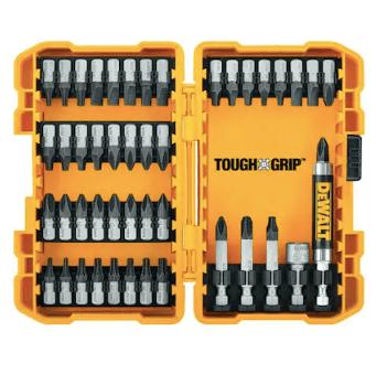 Dewalt Tough Grip 46-piece steel screwdriver bit set for $9, free store pickup