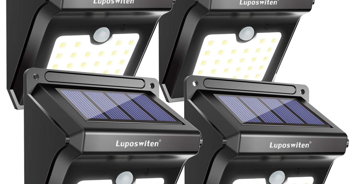 4-pack 28 LED solar outdoor motion lights for $21