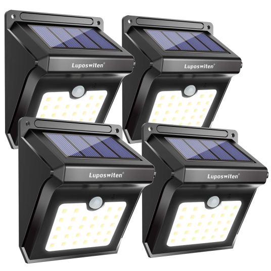 4-pack 28 LED solar outdoor motion lights for $32