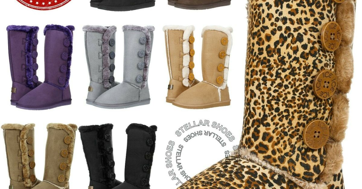 Women's faux fur-lined shearling boots for $27, free shipping
