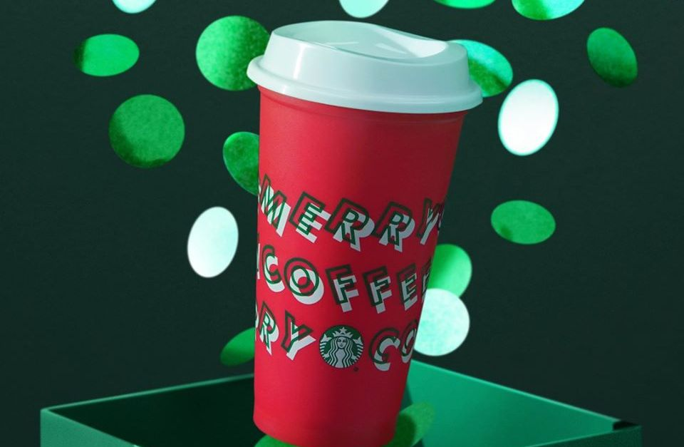 Starbucks: Buy any holiday drink and get a FREE reusable cup