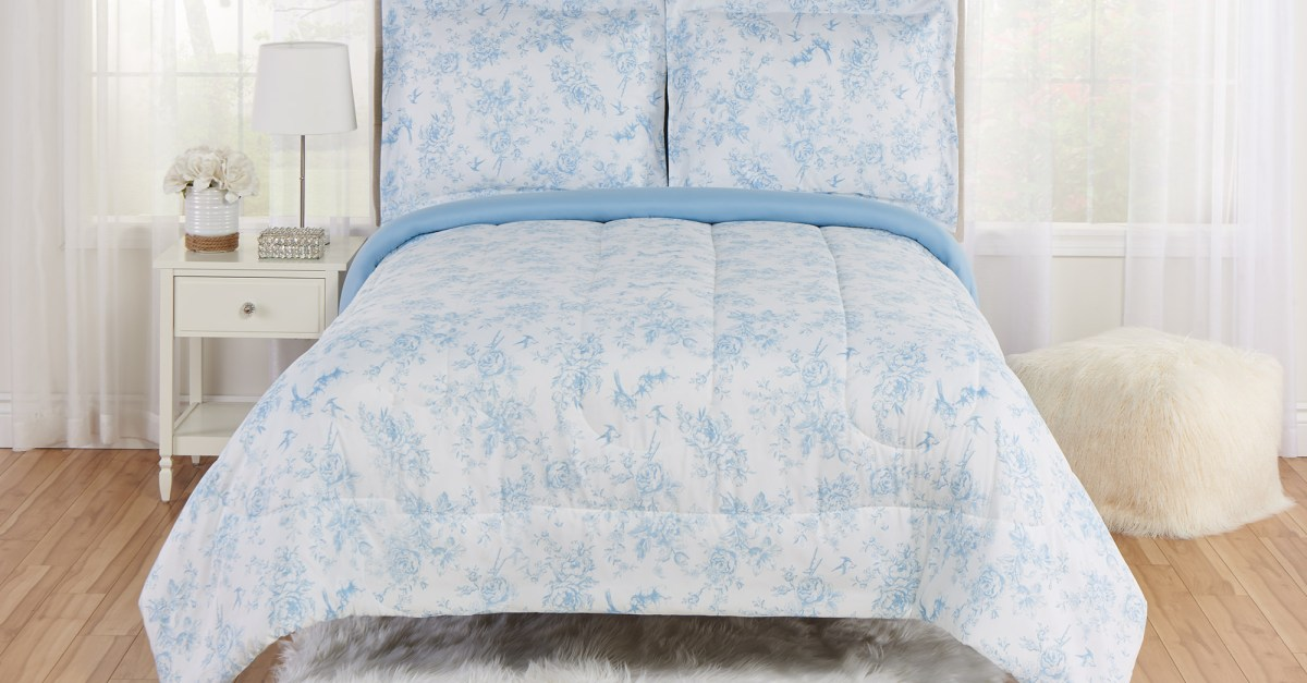 Mainstays Floral Toile comforter and sham bedding set from $19 to $23