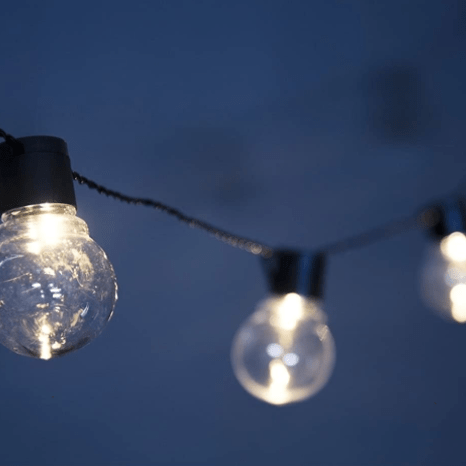 ORA solar-powered string outdoor lights for $10, free shipping