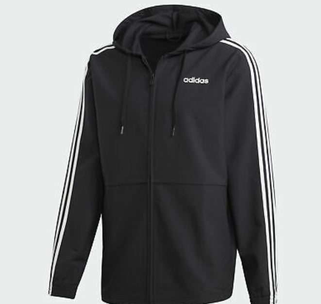 Adidas Essentials 3-stripes woven windbreaker for $25, free shipping
