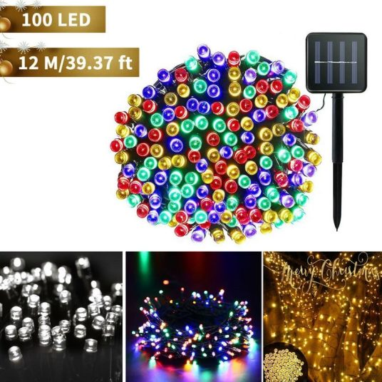 Outdoor solar power 100 LED string lights from $13