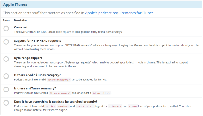 iTunes List of requirements