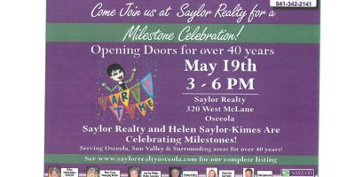 Saylor Realty to Celebrate 40 Years of Serving Osceola