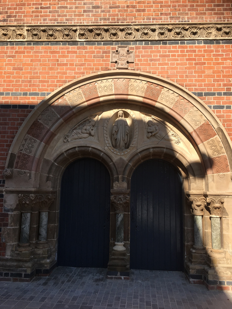 Completed restoration at the doorway of St Mary's Belfast