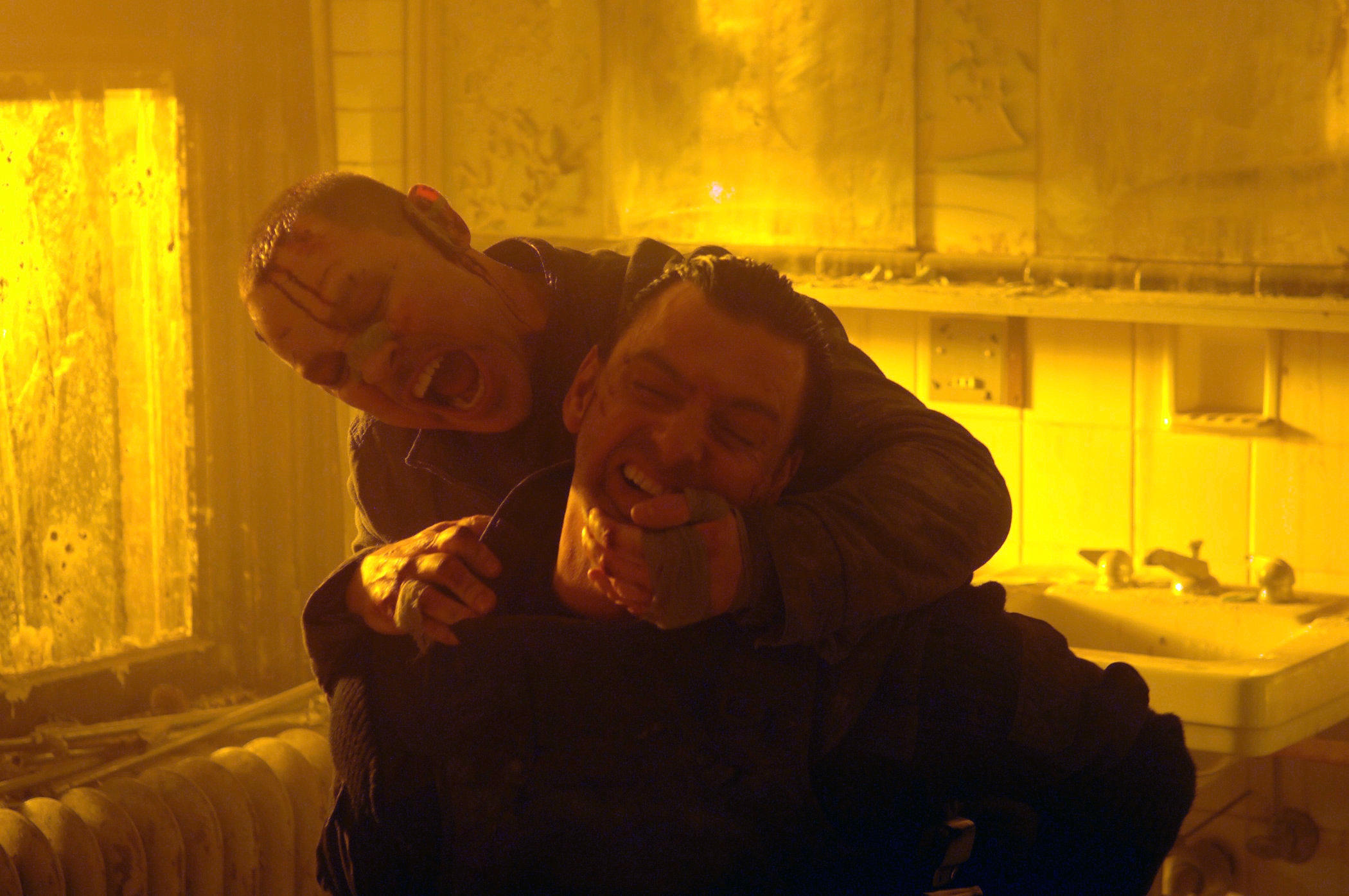 "Doug Hutchison, rear, and Ray Stevenson in a scene from ""Punisher: War Zone."""