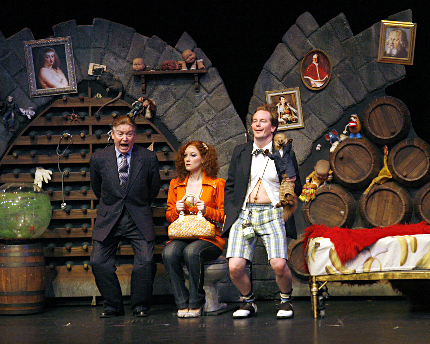 """Left to right, Brian McKay, Christy Adamson and Stephen Patterson in a scene from """"Dirty Rotten Scoundrels."""""""